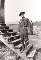 Project Leader Sandy DeMark on the steps of his barracks.  After the