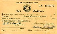 Unit Certificate of Eugene Hite for motor vehicle operation.  This certificate is typical of those awarded to CCC members.