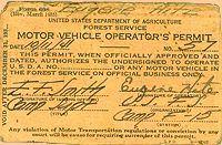 Eugene Hite's CCC driver's permit.  This is typical of those awarded to CCC members.